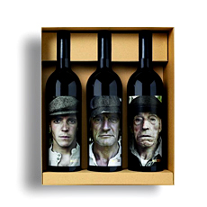 This Spanish wine gift trio by Matsu is sure to make an impression: once when the unique bottle designs are first seen, and again when the seductive red wine is enjoyed.