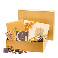 Send this golden gift box of timeless Godiva milk and dark chocolates to friends, family, and colleagues in Europe.