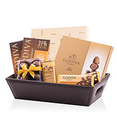 This leather chocolate hamper filled to the brim with Godiva milk chocolate treats is a dream come true for any milk chocolate fan.
