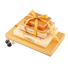 Discover the most exquisite Godiva chocolates with our extraordinary golden tower!