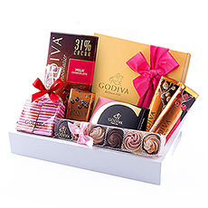 The Godiva Lovely Chocolate Tray offers a delicious selection of loving chocolates.