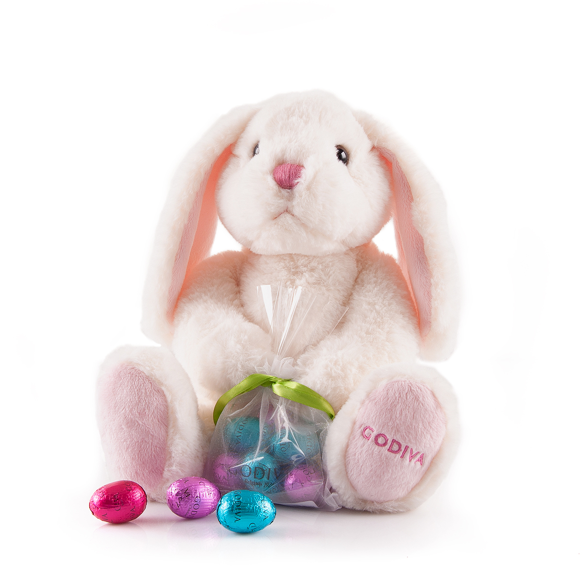A lovable fluffy Easter bunny with 8 milk and white Godiva chocolate eggs is an Easter gift to be cherished.