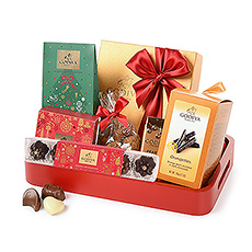 This beautiful serving tray is packed with Belgian chocolates, truffles, orangettes, chocolate sujets & chocolate pearls
