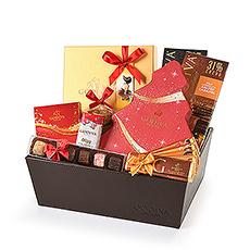 Godiva Noël Panier cadeau de luxe avec chocolat au lait et chocolat noir