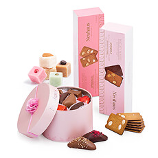 Delight your loved ones with this scrumptious collection of Neuhaus sweets, all in the prettiest pink. The luxury Belgian chocolates, European biscuits, and soft marzipans will make it a sweet celebration!