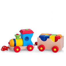 Wooden Toy Train London with 10 Bricks, 32x12x12 cm