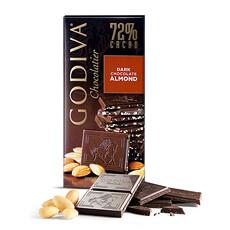 Godiva Tablette Chocolat Noir 72% Amandes, 100g