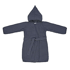Lässig Muslin Bathrobe Navy, 12-18 Months