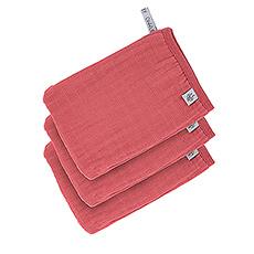 Lässig Muslin Wash Glove Set 3 pcs rosewood