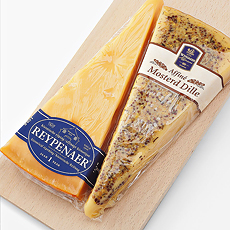 Wyngaard Dutch Aged Cheese & Mosterd Cheese on Wooden Tray
