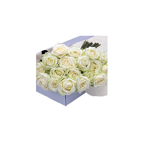 Flower Box White Roses 30 pcs