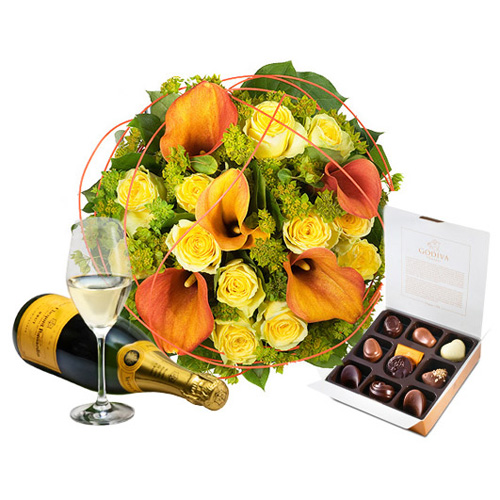Charming Gold, Champagne & Godiva Chocolates