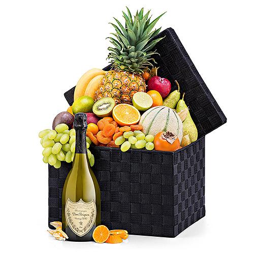 Seasonal Deluxe Exotic Fruit Hamper & Dom Pérignon