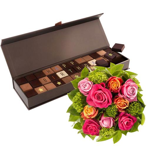 Chocol@ Happy Birthday & Roses Bouquet