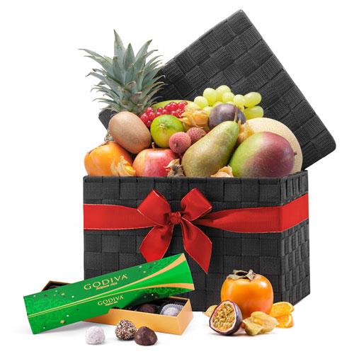 Exotic Fruit & Godiva Chocolate Christmas Hamper