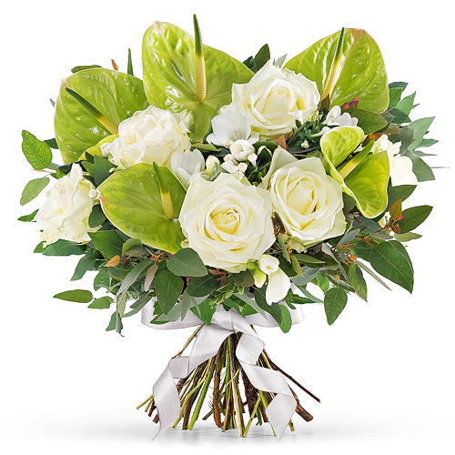 Think Pink White Bouquet - Prestige (45 cm)
