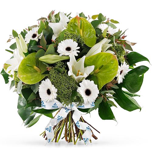 Trias Bouquet Blanc Scintillant - Luxe (40 cm)