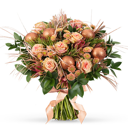 Bouquet de Noël Bronze Luxe - 40 cm