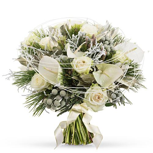 Bouquet Blanc de Noël Prestige - 45 cm