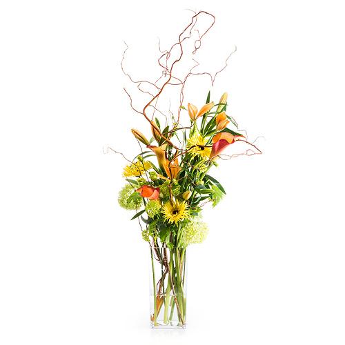 Bouquet avec Fleurs Jaunes et Oranges