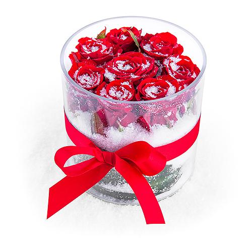 Noël 2018 Vase Roses Rouges & Niège
