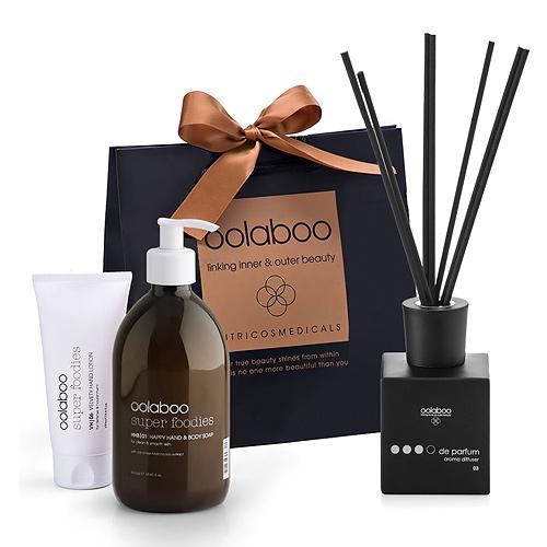 Oolaboo Savon Liquide et Lait Velouté Pour Les Mains et Bâtons De Parfum du Bois de Santal