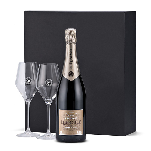 Champagne Lenoble Brut Intense Gift Box with 2 Glasses