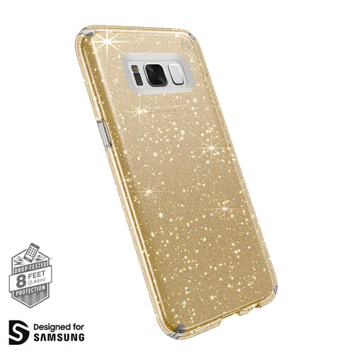 Samsung S8 Plus Presidio Clear Glitter Gold