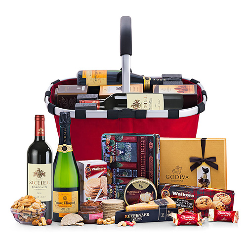 Panier Luxueux avec Délicatesses, Vin & Veuve Clicquot