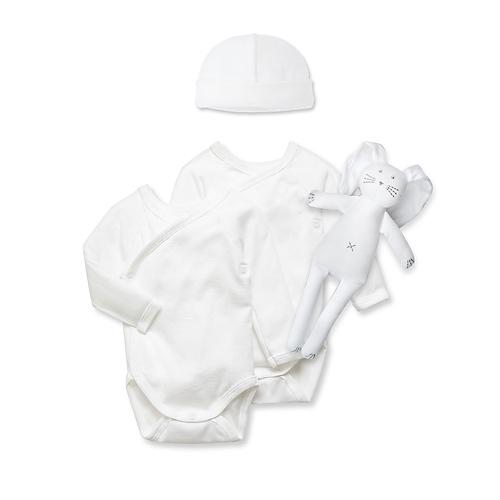 Petit Bateau Bodysuits, Cuddle & Hat (6m)