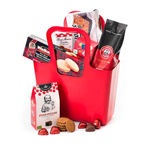 Cabas Koziol Rouge avec Café, Thé & Biscuits