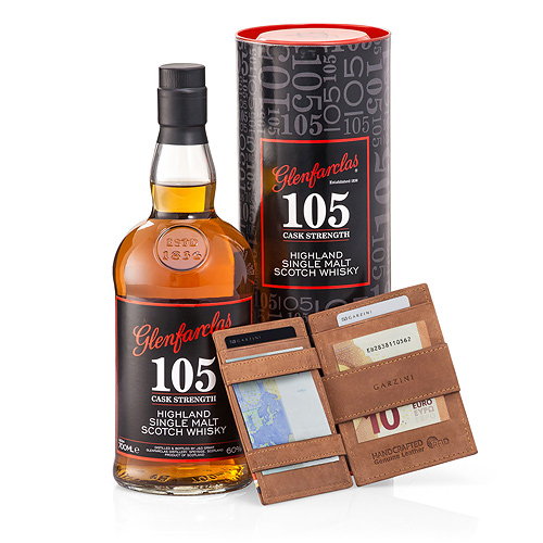 Garzini 'Magic' Wallet Brown & Glenfarclas 105 Whisky