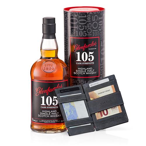 Garzini 'Magic' Wallet Black & Glenfarclas 105 Whisky