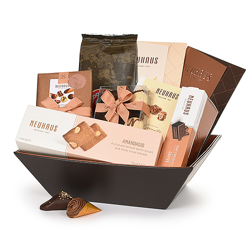 Neuhaus Leather Cognac Gift Basket with Hot Chocolate