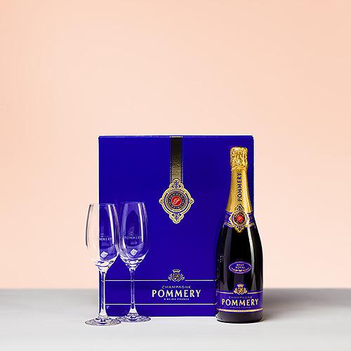 Pommery Champagne Brut Royal Coffret avec 2 Verres de Champagne, 75 cl