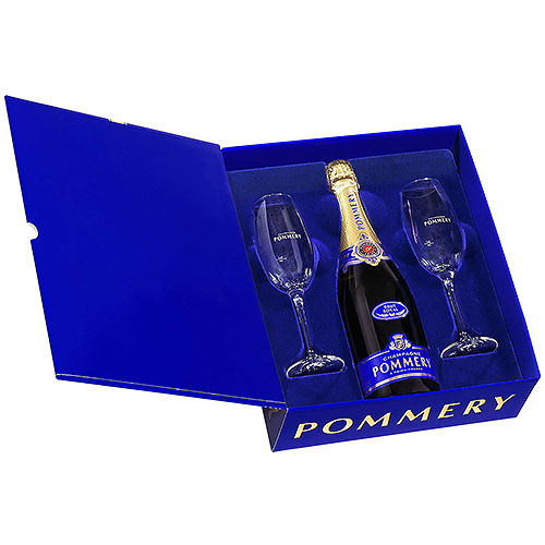 Pommery Champagne Brut Royal Coffret with 2 Champagne Glasses, 75 cl