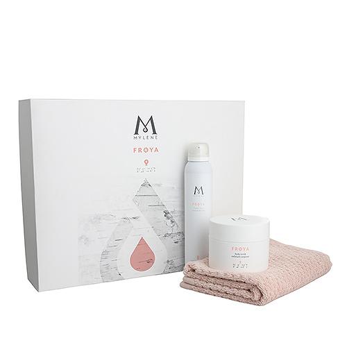 Mylène Frøya Body Care Gift Box Body Scrub, Shower Foam & Towel