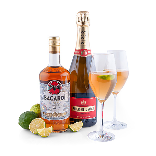 Bacardi Anejo Cuatro : Old Cuban Cocktail / Air Mail