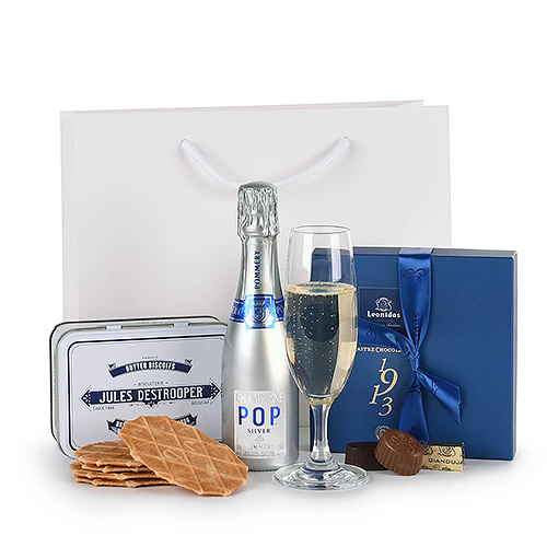 Pop Champagne Pommery, Destrooper Biscuits & Leonidas Chocolates