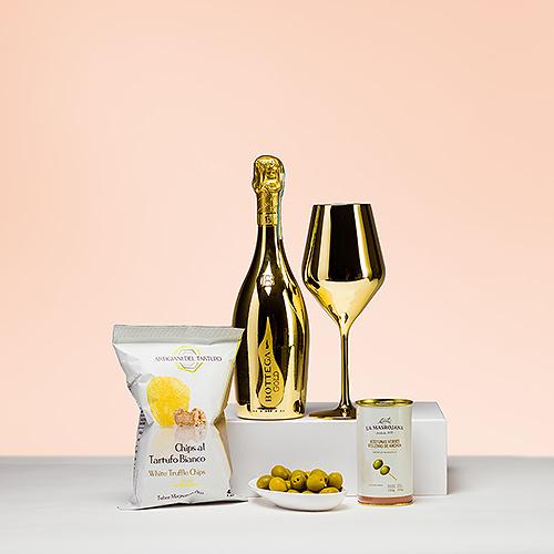Gifts 2021 : Bottega Gold Prosecco Spumante , Glass & Snacks