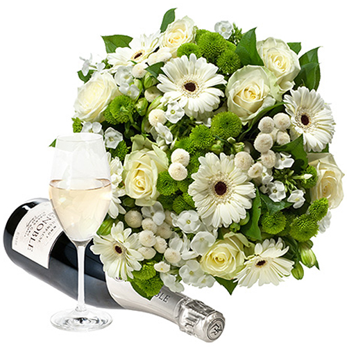 Simply White Bouquet & Lenoble Champagne
