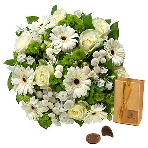 Bouquet Simplement Blanc & Godiva 200 g