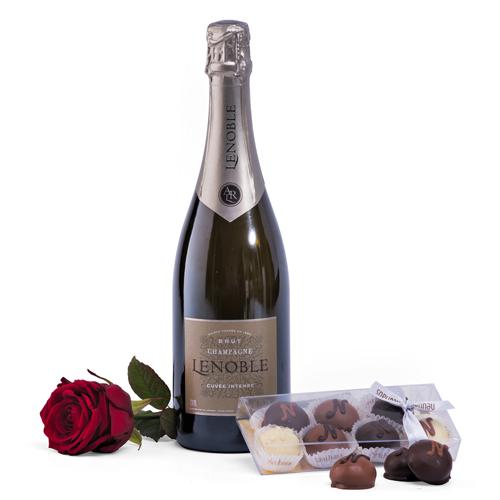 Champagne, Red Rose & Neuhaus Chocolate