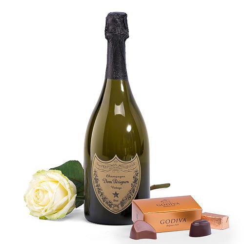 Champagne Dom Pérignon & Rose Blanche