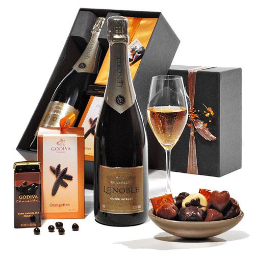 Champagne & Godiva Chocolat Boîte à Cadeau