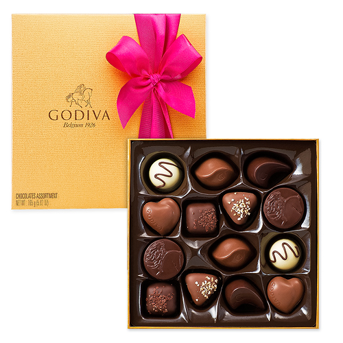 Godiva Decorated Gold Box, 14 pcs