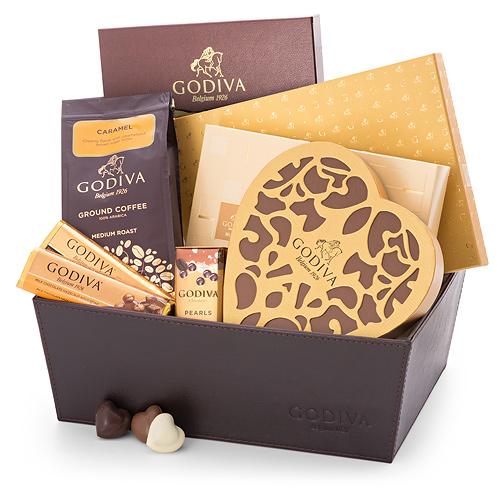 Godiva Panier en Cuir Chocolats Romantiques