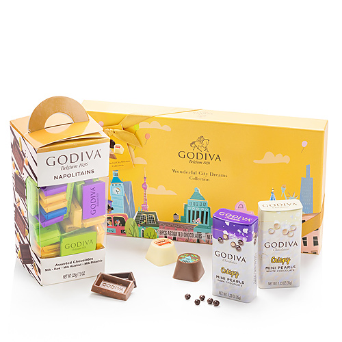 Godiva Wonderful City Dreams, Napolitains & Perles de Chocolat