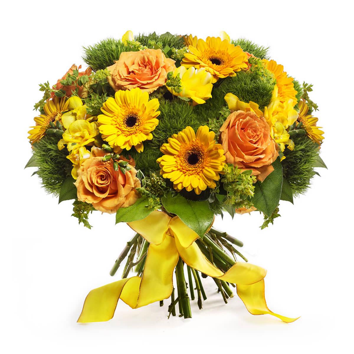 Bouquet de roses germini jaunes cadofrance for Bouquet de fleurs jaunes